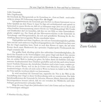 Festschrift zur Orgelweihe: Vorwort