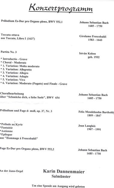 Konzertprogramm Karin J. Dannenmaier