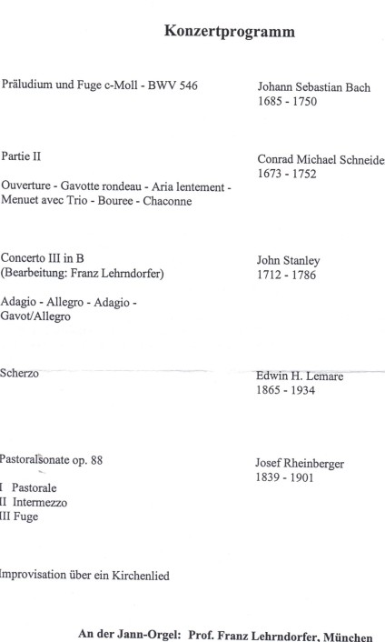 Konzertprogramm Franz Lehrndorfer