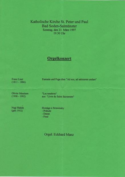 Konzertprogramm Eckhard Manz