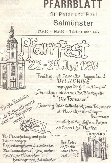 Pfarrblatt mit Ankündigung des Pfarrfestes 1990 ...